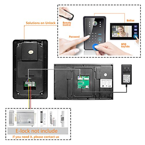 "Amocam 7"" Wired Video Intercom Door Phone Touch Key Monitor Kit IR Camera Door Bell support RFID key fobs and password and remote control Unlock Doorphone System"