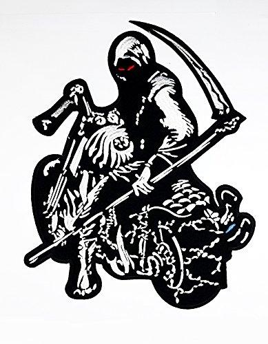 Sensenmann Womens Lady Kostüme (rabana XXL Sensenmann Stunde Totenkopf rot Augen Motorrad Choppers Lady Rider Biker Motorrad Patch Sew Iron on gesticktes Badge Schild)