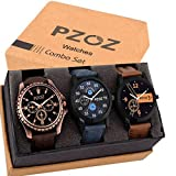 PZOZ Analog Black Dial Men's Watch Combo(Set Of 3)