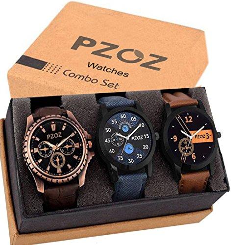PZOZ Analog Black Dial Men\'s Watch Combo(Set Of 3)
