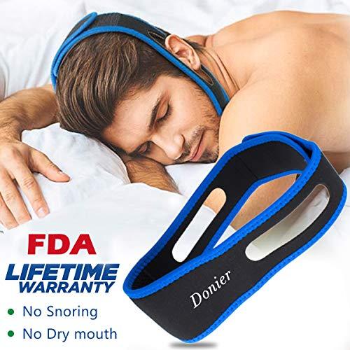 Dispositifs Anti Ronflement, Mentonnière Anti Ronflement Solution Ronflement Réglable Snore Stopper Strap pour Aide Sommeil Réduction Ronflement Mentonnière pour Hommes Femmes