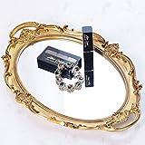 "RUMCENT Plastic Ellipse Antique Decorative Mirror Tray, Makeup Organizer, Jewelry Organizer, Serving Tray, 9.8""x14.4"" (Gold)"