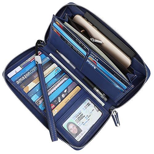 Lavemi Damens Rfid Blocking Echtes Leder Zip Around Wallet Clutchtravel Geldbeutel Wristlet (Size Jahrgang) einheitsgröße 2- vintage blau (Zip-fall-id Womens)