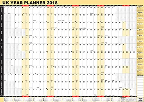 2018 Year Wall Planner,Laminated Yearly Wall Planner Calendar by Arpan (A1 - 2018)