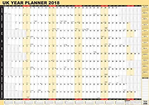 Arpan Wandplaner Jahreskalender für 2018, englischsprachig, A1, laminiert A1 - 2018 Weiß / Gelb