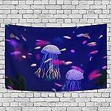 jstel Unterwasserwelt Fische Aquarium Wandteppich für Dekoration für Wohnung Home Decor Wohnzimmer Tisch Überwurf Tagesdecke Wohnheim 152,4x 101,6cm, Textil, multi, 80x60 inch