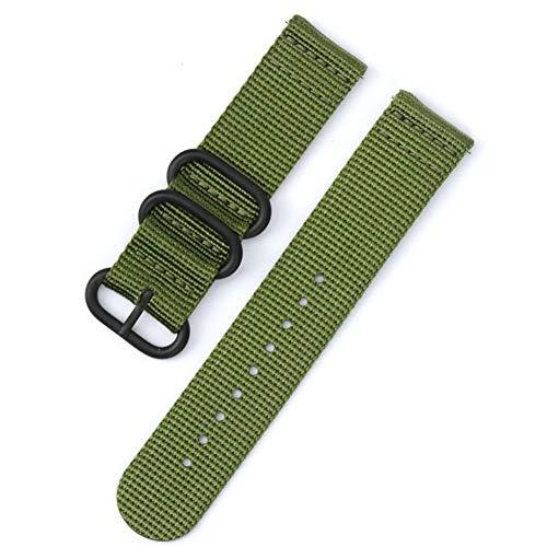 Xyhjd Canvas-Nylon uhrenarmband für Garmin Fenix 3HR / 5X / 5S Größe 20 mm, 22 mm, 26 mm Schwarze Schnalle,Militarygreen,20mm