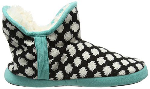 Dearfoams - Fairisle Bootie With Microsuede Trim And Memory Foam, Pantofole Donna Nero (Nero 00001)
