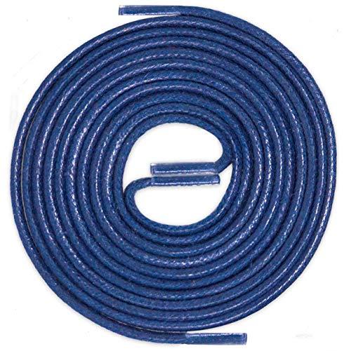 LACCICO Finest Waxed Laces® Durchmesser 2 mm Runde Dünne Elegante Gewachste Schnürsenkel Farbe: Blau Länge: 90 cm