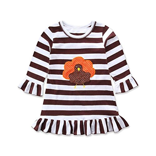 Baby Truthahn Kostüm - Neugeborene Kleidung Hirolan Kinderbekleidung Glücklich das Erntedankfest Tag Babykleidung Kleinkind Mädchen Truthahn Drucken Kleid Festliche Mädchen Kleider Streifen Outfits (100, Kaffee)