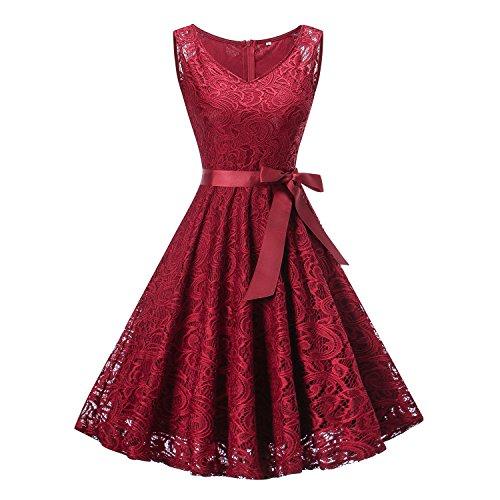 HENCY Damen Spitzen Rockabilly Kleid Festlich Partykleid Cocktailkleid Brautjungfern Kleid Rundhals Ärmellos (Xlarge, V Neck-Weinrot)