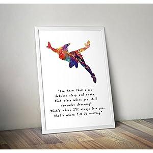 Peter Pan inspiriert Aquarell Zitat Poster Print Geschenke - Alternative TV/Film Poster in verschiedenen Größen (Rahmen nicht im Lieferumfang enthalten)