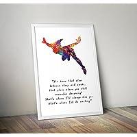 Peter Pan Inspired Watercolor Quote Poster Print regalos - Carteles de TV/películas alternativas en varios tamaños (Marco no incluido)