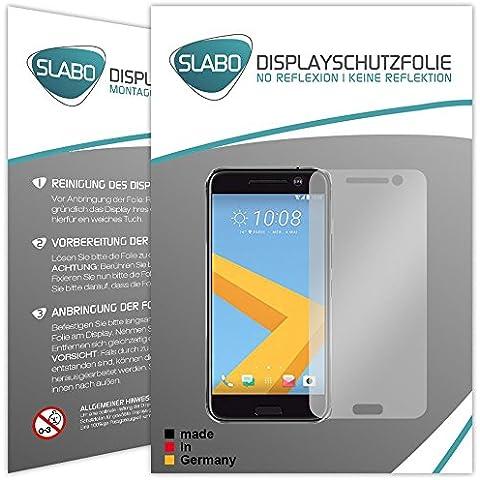 2 x Slabo protector de pantalla HTC 10 lámina protectora de pantalla (protector de pantalla reducido, a causa de la pantalla curvada)
