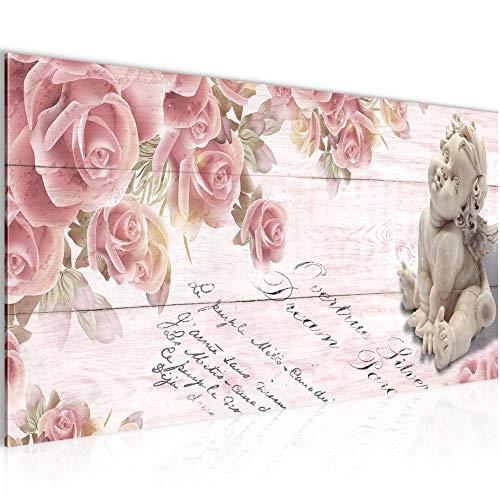 Bilder Engel Blumen Wandbild Vlies - Leinwand Bild XXL Format Wandbilder Wohnzimmer Wohnung Deko Kunstdrucke Rosa 1 Teilig - MADE IN GERMANY - Fertig zum Aufhängen 006012b - Rosen Rosa Bild
