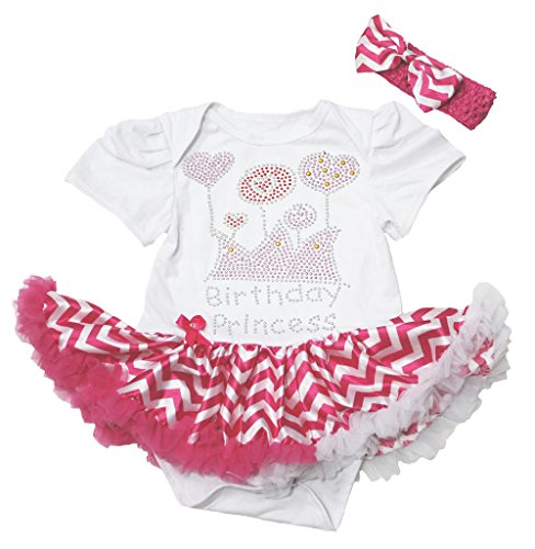 Petitebelle Birthday Princess Dress White Bodysuit Hot Pink Chevron Tutu Nb-18m(12-18 Monat)