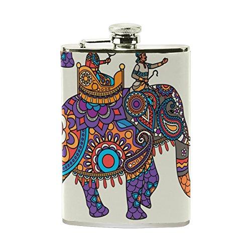 Tizorax éléphant indien Floral Poche Flasque en acier inoxydable, Pichet, le camping, Pot de vin, cadeau pour homme ou femme, 226,8gram