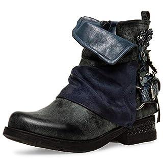 Caspar SBO089 Damen Vintage Boots mit Gamaschen, Farbe:blau, Größe:40 EU