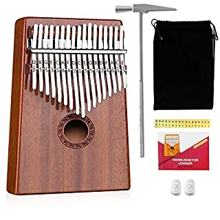 ANYOYO Kalimba Thumb Piano 17 Keys Finger Piano Mbira Solid Mahogany Wood Portable Easy-to-learn Musical Instrument with Tuning Hammer Christmas Birthday Gifts Idea for Music Fans, Child, A Beginner