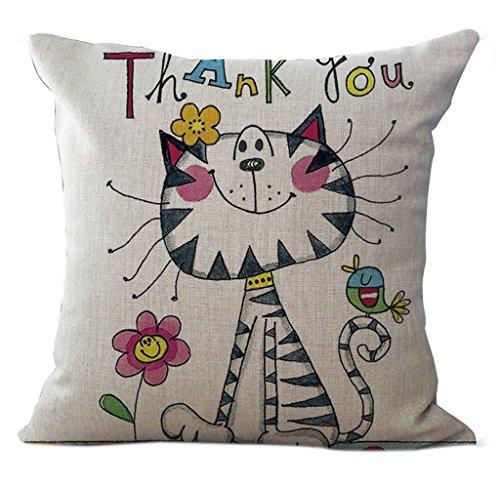(CHEZMAX Leinen Cartoon-Muster Sofa-Überwurf Kissen Deko-Kissen, Baumwolle, quadratisch mit 18x 18cm, Strip Cat, with Filler)