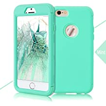 WE LOVE CASE iPhone 6 6s Cover 3 in 1 Heavy Duty Armor Drop Proof Defender iPhone 6 6s Custodia Case Rigida Elegant Backcover Hard con Plastica Bumper Belle Protettiva Protezione Duro Antiurto Ultraslim Coperture Girl Brillantini Donna Case per Apple iPhone 6 6s 4,7 Menta Verde
