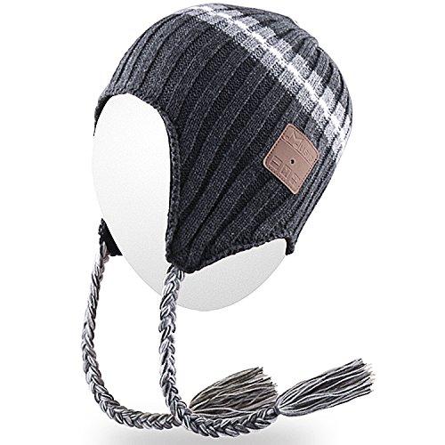 Qshell Trendy Drahtlose Bluetooth Strickmütze Braid Kopfhörer Headsets Lautsprecher-Mikrofon für Damen Herren Lifestyle Outdoor Sport Skifahren Snowboard Wandern Walking Laufen Laufen, Grau