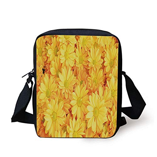 CBBBB Yellow Flower,Lively Daisies Fresh Bouquets with Natural Seasonal Bedding Plant Petals,Yellow Marigold Print Kids Crossbody Messenger Bag Purse