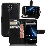 Doogee X3 Funda, Wrcibo Doogee X3 Funda Flip de PU Cuero Billetera Cartera Monedero Funda Caso Case para Doogee X3 Smartphone (Negro)