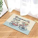 HTSJYJYT Tappeti da Bagno Summer Day Stile conciso Bicicletta Fiore Uccello Vitalità Giovanile Vogue Antiscivolo Zerbino Pavimento Tappetino Porta Interna per 60X40CM