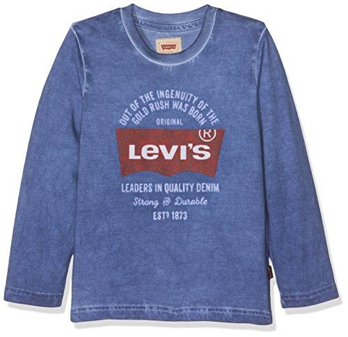 Levi's Jungen T-Shirt LS Tee Bluebats, Bleu (Delft), 8 Jahre (Trim Ärmel, Gerippte Lange)