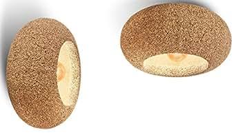 Greencorks, LAMPADA COSTARICA da Soffitto e Parete; 60 X 30 H cm della Collezione LAMP. Lampada in sughero e corpo lampada a led incluso. LAMPADA d'Appendere per Interni. Variante in SUGHERO BIONDO.