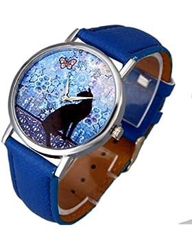 Sunnywill Frauen Katze Muster Leder Band Analog Quarz Vogue Armbanduhr Blau