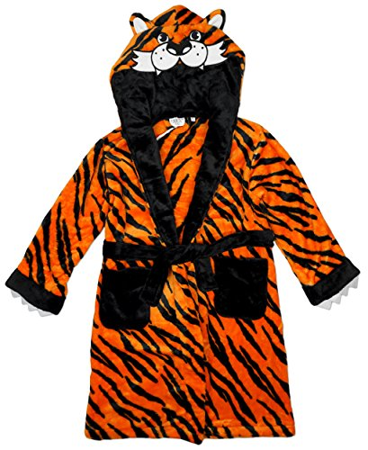 Boys-TIGER-Animal-Face-Hooded-Fleece-Dressing-Gown-Bathrobe-sizes-from-2-to-13-Years