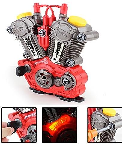 Brigamo 1183 - Kinderwerkzeug Set KFZ Werkzeugkasten mit Spielzeug Werkzeug - bau dir deinen funktionierenden Motor mit Licht &