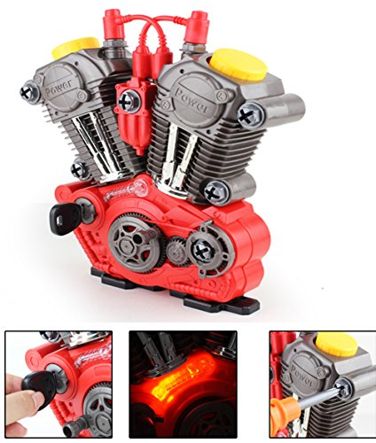 Brigamo 1183 - Kinderwerkzeug Set KFZ Werkzeugkasten mit Spielzeug Werkzeug - bau dir deinen funktionierenden Motor mit Licht & (Strauß Kind Kostüm)