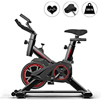 AJUMKER Vélo d'appartement stationnaire avec support pour tablette et écran LCD pour entraînement à la maison, design silencieux, capacité de poids de 150 kg