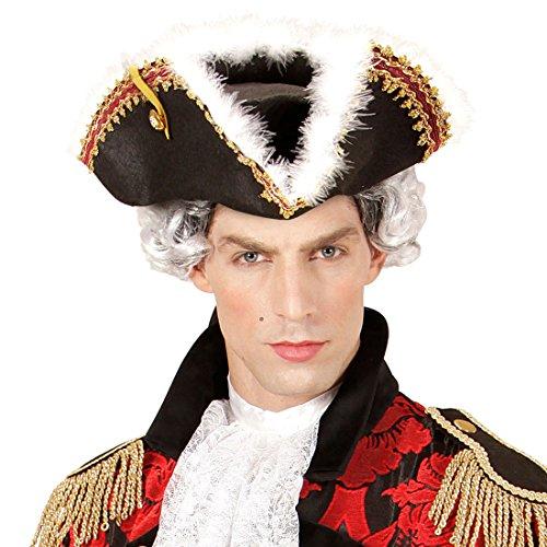 Dreispitz Hut Admiral Mittelalter Hut Freibeuter Seeräuber Kopfbedeckung Gardehut Pirat Piratin Kostüm Accessoire Eleganter Piratenhut mit Federn (Admiral Hut)