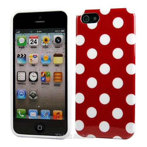 Apple iPhone 6 TPU Gel Case - Blau Apple iPhone 6 Tasche Flip Case Leder Cover Schutz Hülle Etui Schale - thinkmobile Polka Dots Rot