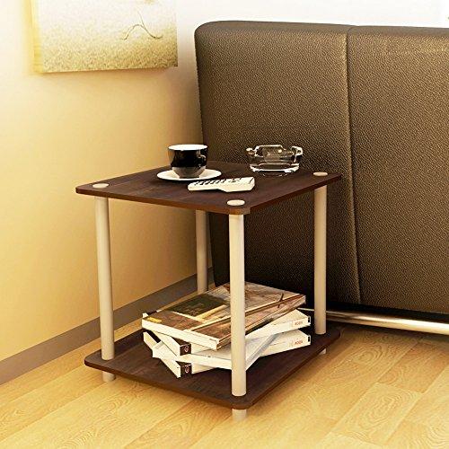 AJZGF Salon en bois de 2 niveaux table basse canapé table d'appoint téléphone table d'appoint Tablette (Couleur : Marron foncé)