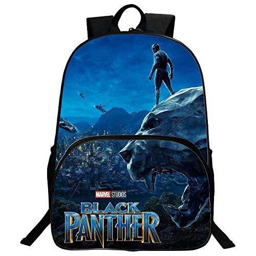 RLJqwad Película De Anime Black Panther School Bag Mochila para Niños Avengers Mochila Escolar Primaria...