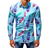 UJUNAOR Herrenmode Printed Bluse Casual Langarm Slim Shirts Tops M bis 5XL(L,Multicolor 5)