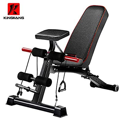 kingkang Adjustable Sit Up Bench/Weight Bench for Full Body Workout - Black by kingkang
