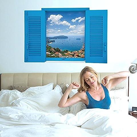 Nuevo LLHZUO hermoso mar azul cielo azul del Mar Vista de la ventana 3D pegatinas de pared paisaje creativo Living Oficina Decoracion