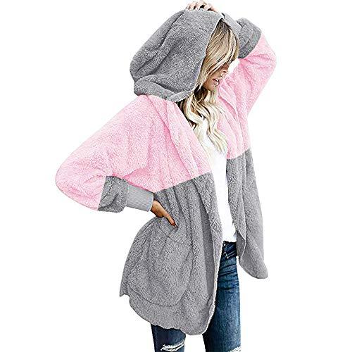 (iHENGH Vorweihnachtliche Karnevalsaktion Damen Warm bequem Herbst Winter Lässig Stilvoll Jacke Mantel Oversized Open Front Kapuzen Drapierte Taschen Cardigan(EU-44/CN-XL,Rosa))