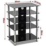 tinkertonk Black Glass TV/Hifi Stand Stainless Steel Media Component Rack/Cabinet/Shelf/Tower