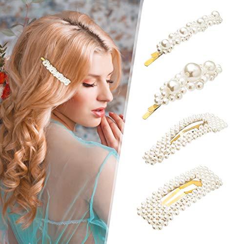 Charminer Eleganze Perle Haarspangen, 4 Stücke Süße Handmade Haarnadeln Künstliche Haarschmuck Dekorative Braut für Damen Frauen Mädchen zum Geburtstag Valentinstag Hochzeit Party Geschenke