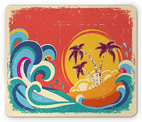 Vintage Hawaii Mouse Pad, Vintage Old Paper Style Tropical Island with Giant Waves Retro Background, Standard Size Rectangle Non-Slip Rubber Mousepad, Multicolo