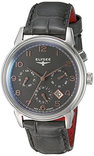 ELYSEE Made in Germany Vintage Calendar 80556 40mm Automatic Stainless Steel Case Grey Calfskin Synthetic Sapphire Men's Watch