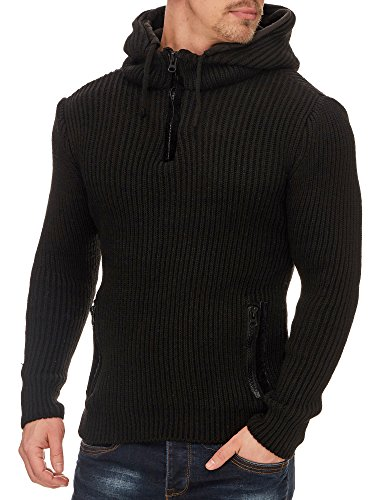 TAZZIO Herren Styler Pullover mit Kapuze 16492 Schwarz