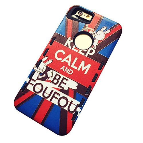 "Coque pour Apple iPhone 6 / 6S 4.7"" - Aohro 2 en 1 Dual Layer Protection avec Detachable Hard PC + TPU Protective Etui Housse Back Case Cover + Stylus Pen + Dust Plug--Keep Calm Keep Calm"